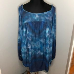 Free People FP Cold Shoulder Oversized Top tyedye